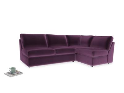 Large right hand Chatnap modular corner storage sofa in Grape clever velvet