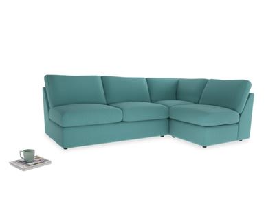 Large right hand Chatnap modular corner storage sofa in Peacock brushed cotton