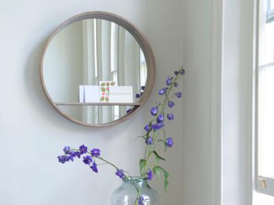 Hula handmade wooden round wall mirror with shelf