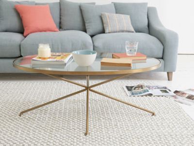 Keeper oval round glass brass metal coffee table