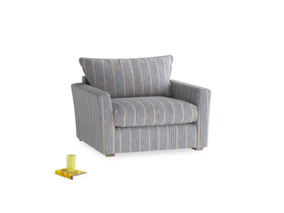 Pavilion Love Seat Sofa Bed in Brittany Blue French Stripe