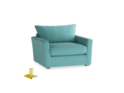 Pavilion Love Seat Sofa Bed in Peacock Brushed Cotton