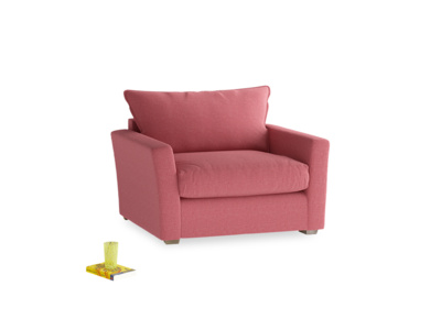 Pavilion Love Seat Sofa Bed in Raspberry Brushed Cotton