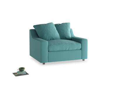 Love Seat Sofa Bed Cloud love seat sofa bed in Peacock brushed cotton
