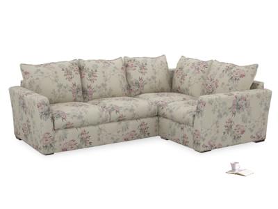 Large Right Hand Pavilion Corner Sofa Bed in Pink Vintage Rose