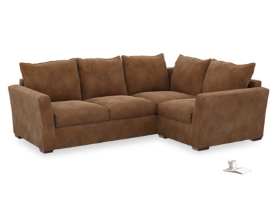 Large Right Hand Pavilion Corner Sofa Bed in Walnut Beaten Leather
