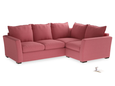 Large Right Hand Pavilion Corner Sofa Bed in Raspberry Brushed Cotton