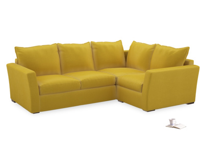 Large Right Hand Pavilion Corner Sofa Bed in Bumblebee Clever Velvet
