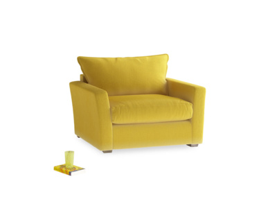 Pavilion Love Seat Sofa Bed in Bumblebee Clever Velvet