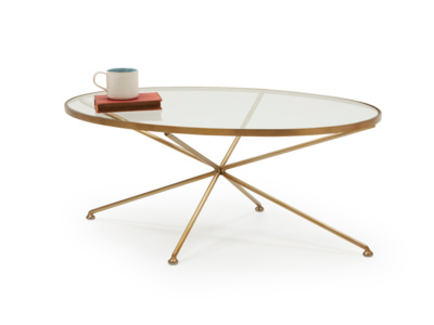 Keeper round glass metal brass oval coffee table