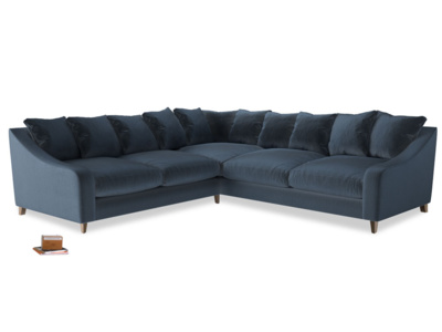Even Sided Oscar Corner Sofa  in Liquorice Blue clever velvet
