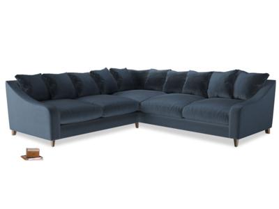 Even Sided Oscar Corner Sofa  in Liquorice Blue clever velvet