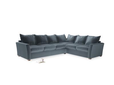 Xl Right Hand Pavilion Corner Sofa Bed in Mermaid Plush Velvet