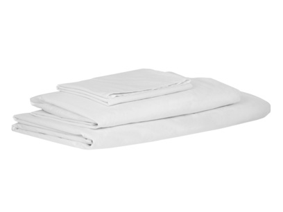 Double Lazy Cotton fitted sheets in White