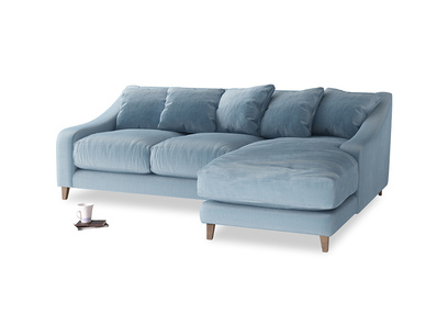 Large right hand Oscar Chaise Sofa in Chalky blue vintage velvet