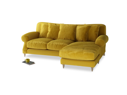 Large right hand Crumpet Chaise Sofa in Burnt yellow vintage velvet