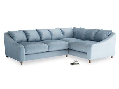 Large Right Hand Oscar Corner Sofa  in Chalky blue vintage velvet