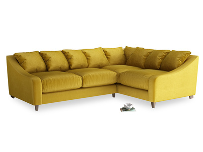 Large Right Hand Oscar Corner Sofa  in Burnt yellow vintage velvet