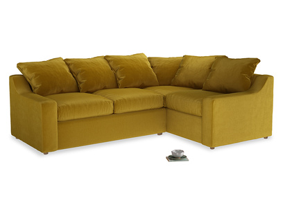 Large right hand Cloud Corner Sofa Bed in Burnt yellow vintage velvet