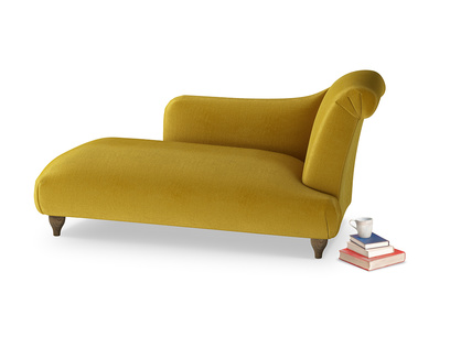 Right Hand Brontë Chaise Longue in Burnt yellow vintage velvet