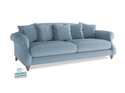 Large Sloucher Sofa in Chalky blue vintage velvet