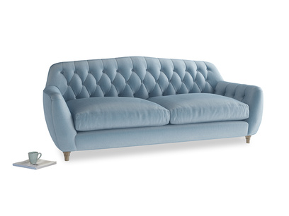 Large Butterbump Sofa in Chalky blue vintage velvet