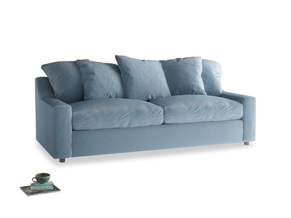 Large Cloud Sofa Bed in Chalky blue vintage velvet