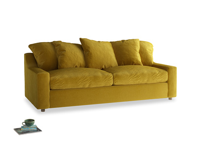 Large Cloud Sofa Bed in Burnt yellow vintage velvet