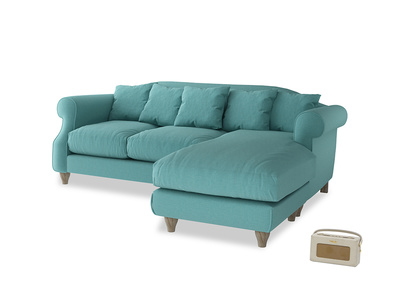 Large right hand Sloucher Chaise Sofa in Peacock brushed cotton