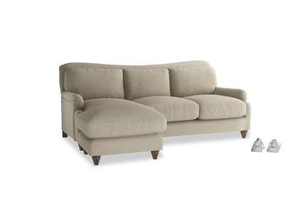 Large left hand Pavlova Chaise Sofa in Jute vintage linen