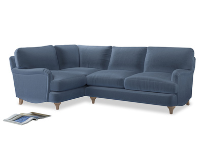 Large Left Hand Jonesy Corner Sofa in Winter Sky clever velvet