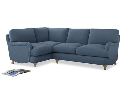 Large Left Hand Jonesy Corner Sofa in Nordic blue brushed cotton