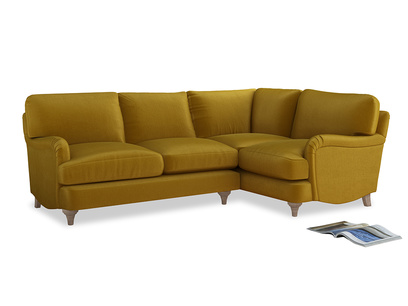Large Right Hand Jonesy Corner Sofa in Burnt yellow vintage velvet