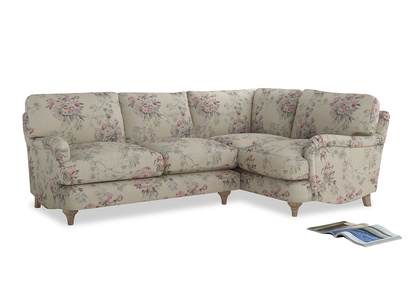 Large Right Hand Jonesy Corner Sofa in Pink vintage rose