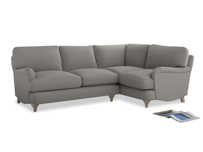Large Right Hand Jonesy Corner Sofa in Wolf brushed cotton