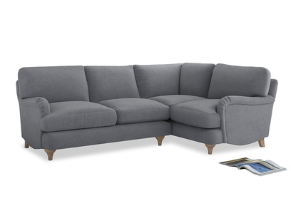 Large Right Hand Jonesy Corner Sofa in Dove grey wool