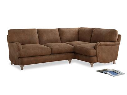 Large Right Hand Jonesy Corner Sofa in Walnut beaten leather