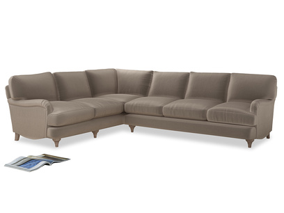 Xl Left Hand Jonesy Corner Sofa in Fawn clever velvet