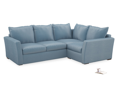Large Right Hand Pavilion Corner Sofa Bed in Chalky Blue Vintage Velvet