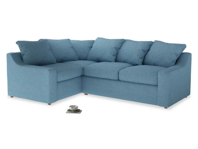 Large left hand Corner Cloud Corner Sofa Bed in Moroccan blue clever woolly fabric