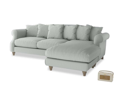 XL Right Hand  Sloucher Chaise Sofa in Eggshell grey clever cotton