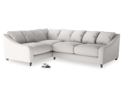 Large Left Hand Oscar Corner Sofa  in Lunar Grey washed cotton linen