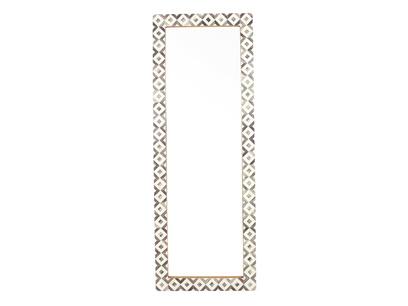 Zebedee long floor mirror with bone inlay