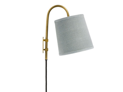 Head Jog In Brass wall light with a Sea Salt shade