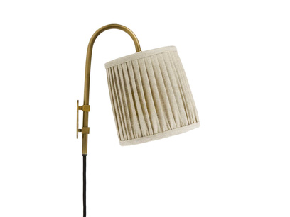 Head Jog In Brass wall light with Natural pleated shade