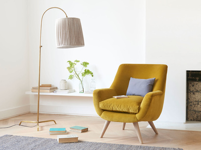 Slam Dunk bronze and curved elegant floor lamp