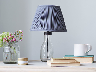 Milk Bottle table lamp with glass base and pleated shade