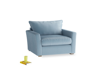 Pavilion Love Seat Sofa Bed in Chalky Blue Vintage Velvet