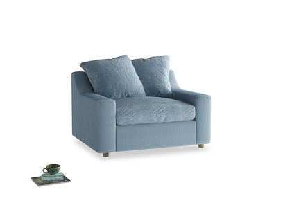 Cloud love seat sofa bed in Chalky blue vintage velvet