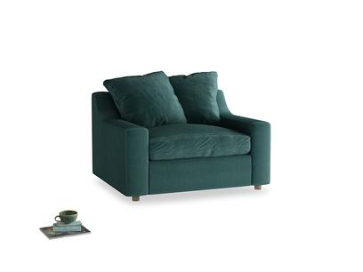 Cloud love seat sofa bed in Timeless teal vintage velvet